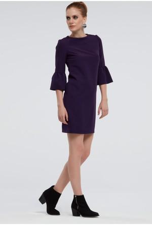 İroni İspanyol Kollu Mor Mini Elbise