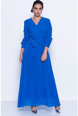 İroni Uzun Şifon Elbise