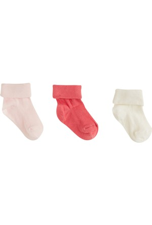 Soobe Üçlü Çizgili Desenli Çorap Set Pembe