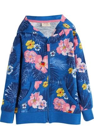 Soobe Pop Girls Çiçekli Kapüşonlu Sweatshirt Baskılı 9 Yaş