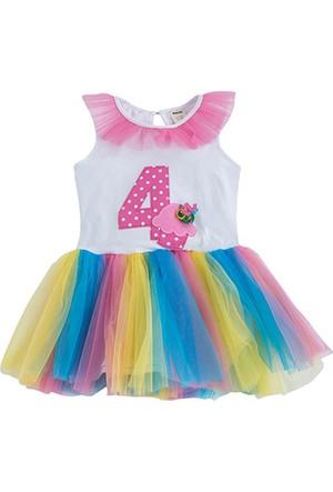 Soobe Happy Birthday Girls 4 Yaş Elbise Beyaz 4 Yaş
