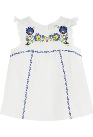Soobe Oriental Blue Kolsuz Fırfırlı Bluz Beyaz 4 Yaş