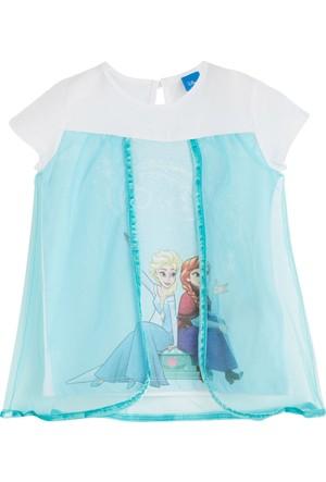 Soobe Lisanslı Disney Frozen Kısa Kol T-Shirt Tüllü Beyaz 7 Yaş
