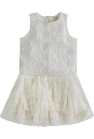 Soobe Ballerina Princess Tütü Etekli Kolsuz Elbise Ekru 6 Yaş