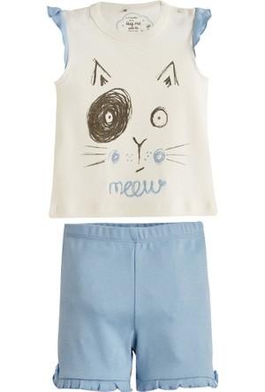 Soobe Kedi Baskılı Kısa Kol Şort Pijama Takımı Ekru 3 Yaş