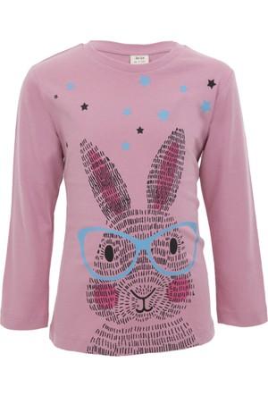 Soobe Pop Girls Gözlüklü Tavşan Uzun Kol T-Shirt 10 Yaş