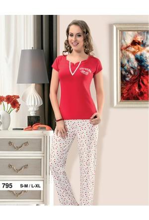 Derya Kurşun 795 Kırmızı Pijama Takım