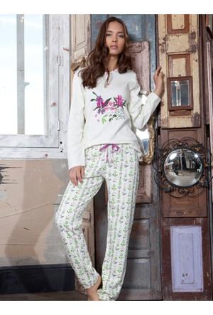 Ayyıldız 58673 Beyaz Desenli Kadın Pijama Takımı