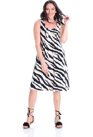 Tepa Ekru Batik Büyük Beden Elbise