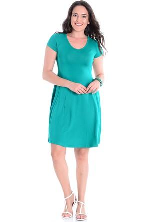 Tepa Yeşil Volanlı Büyük Beden Elbise