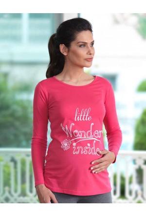 Mel Bee Baskılı Lohusa T-Shirt Nar Çiçeği MB4506