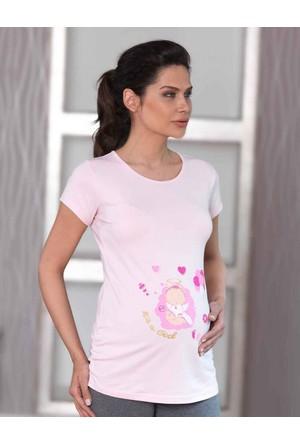 Mel Bee Balon Baskılı Lohusa T-Shirt Pembe MB4509
