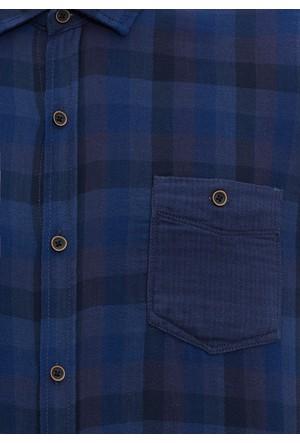 Mavi Erkek Gece Mavi Kareli Gömlek