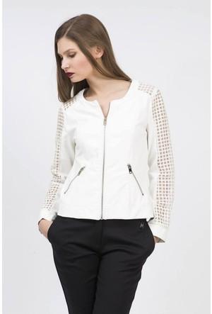 Serpil Kolları Kafesli Cep Detaylı Fermuarlı Beyaz Deri Ceket