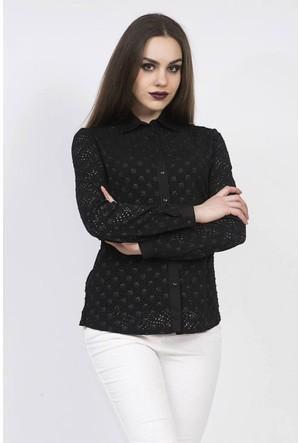 Serpil Lazer Kesim Detaylı Siyah Gömlek