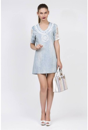 Serpil Kolları Ve Sırtı Tül Mixli Göğsü Taş Detaylı Mavi Elbise
