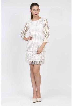 Serpil File Ve Güpür Detaylı Beyaz Elbise