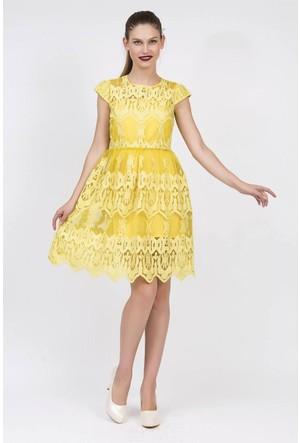 Serpil Tül Üzeri Güpür Detaylı Sarı Elbise