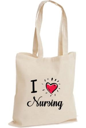 XukX Dizayn I Love Nursing- Hemşireliği Seviyorum Bez Çanta