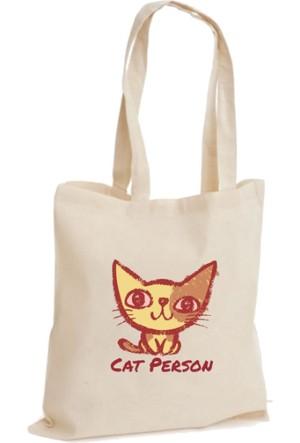 XukX Dizayn Cat Person Bez Çanta