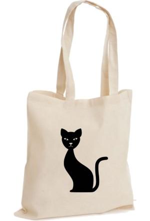 XukX Dizayn Siyah Kedi Bez Çanta