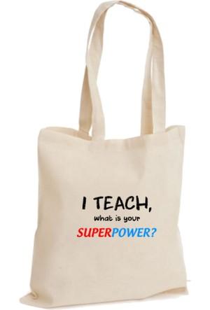 XukX Dizayn Super Power Öğretmen Bez Çanta