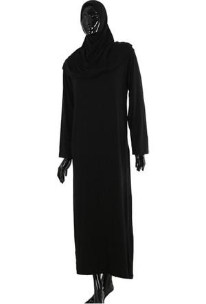 Vavmol Tek Parça Pratik Düz Siyah Namaz Elbisesi
