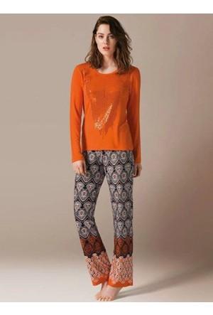 Catherine's 447 Viskon Pul İşlemeli Kadın Pijama Takımı