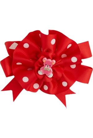 Soobe Figürlü Çiçek Klıpsli Toka Kırmızı
