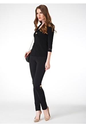 Dodona Tasarım Taşlı Siyah Pantolon Siyah