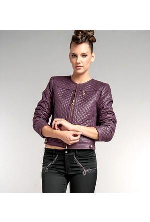 Dodona Özel Tasarım Deri Görünümlü Ceket Lacivert