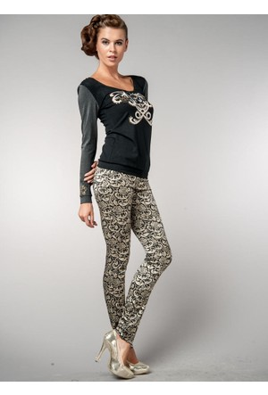 Dodona İtalyan Kumaş Desenli Şık Pantolon Altın