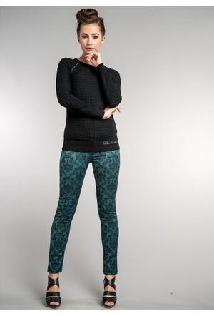 Dodona İtalyan Kumaş Desenli Şık Pantolon Yeşil