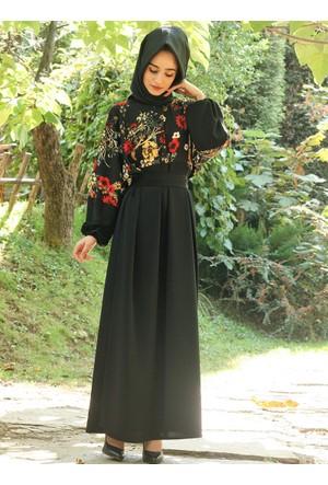 Çiçek Detaylı Elbise - Siyah - Gabra