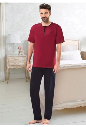 Erkek Pijama Takımı - 8714 - Bordo - Erdem