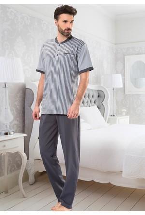 Erkek Pijama Takımı - 8709 - Gri - Erdem