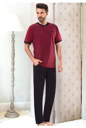 Erkek Pijama Takımı - 8709 - Bordo - Erdem