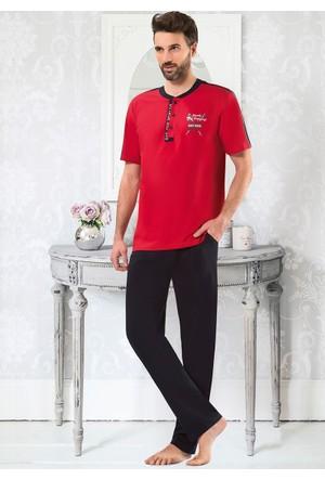 Erkek Pijama Takımı - 8711- Kırmızı - Erdem
