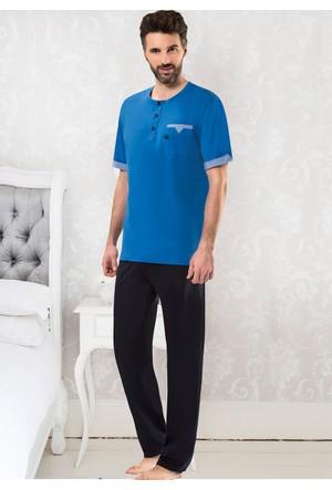 Erkek Pijama Takımı - 8715 - Saks - Erdem