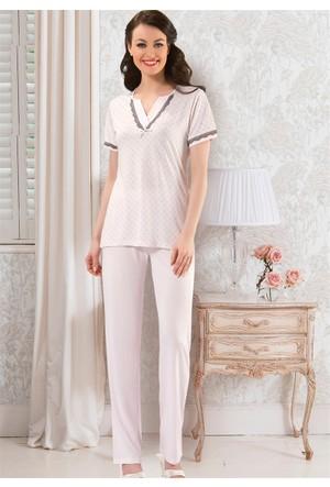 Bayan Pijama Takım - 8418 - Pudra - Erdem