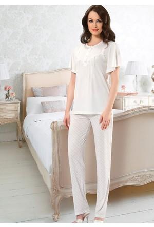 Bayan Pijama Takım - 8415 - Ekru - Erdem
