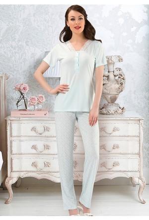 V Yakalı Bayan Pijama Takım - 8420 - Mint - Erdem