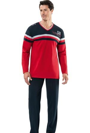 Erdem 8704 Erkek Pijama Takım - Kırmızı