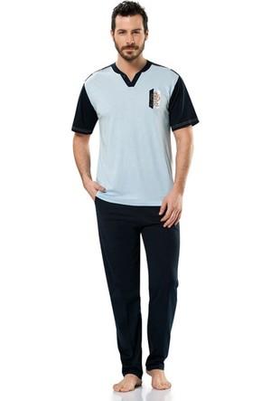 Erdem 8688 Kısa Kol Erkek Pijama Takımı Mavi