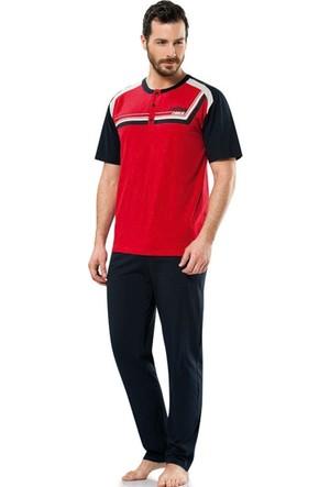 Erdem 8691 Kısa Kol Erkek Pijama Takımı Kırmızı