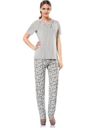 Erdem 8373 Kısa Kol Bayan Pijama Takımı Gri