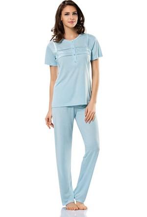 Erdem 8370 Kısa Kol Bayan Pijama Takımı Mavi