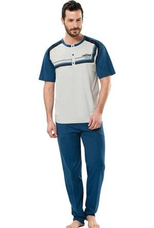 Erdem 8691 Kısa Kol Erkek Pijama Takımı Krem
