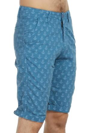 Kilroy Çapa Desenli Erkek Şort - 1209 - Mavi