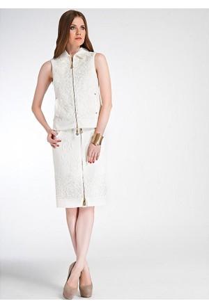 Dodona Özel Tasarım Fransız Dantel İşlemeli Yelek Beyaz